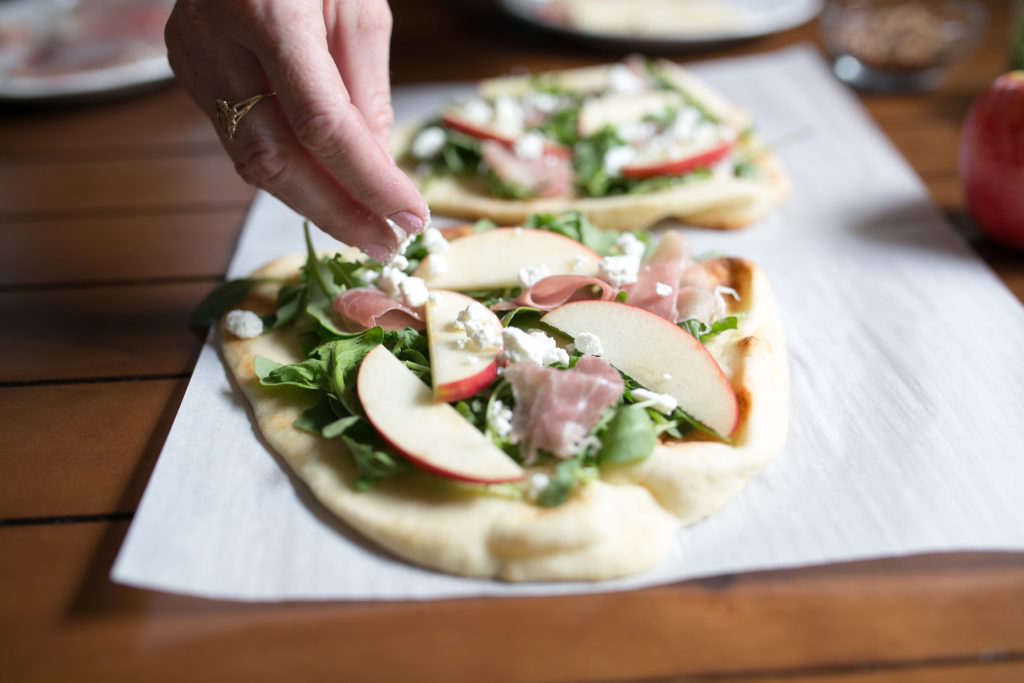 Delicious fall apple and prosciutto flatbread appetizer